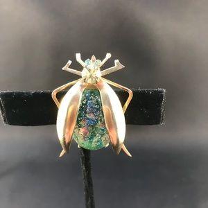 Vintage beetle pin green confetti stone